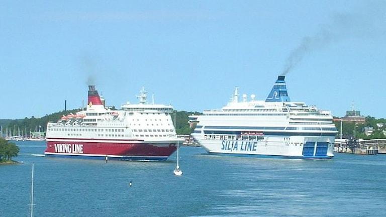 Viking lines och Silja lines båtar