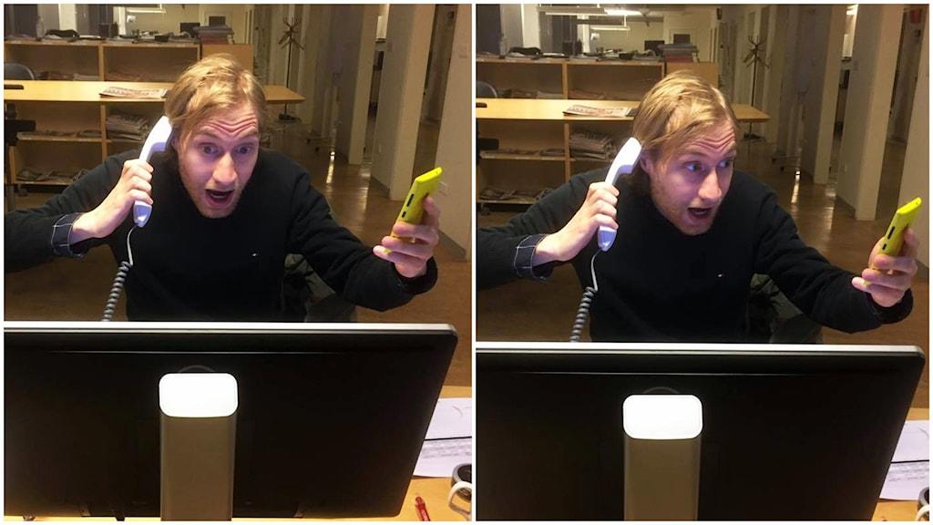 Timo Laine kahdessa eri puhelimessa yhtä aikaa.