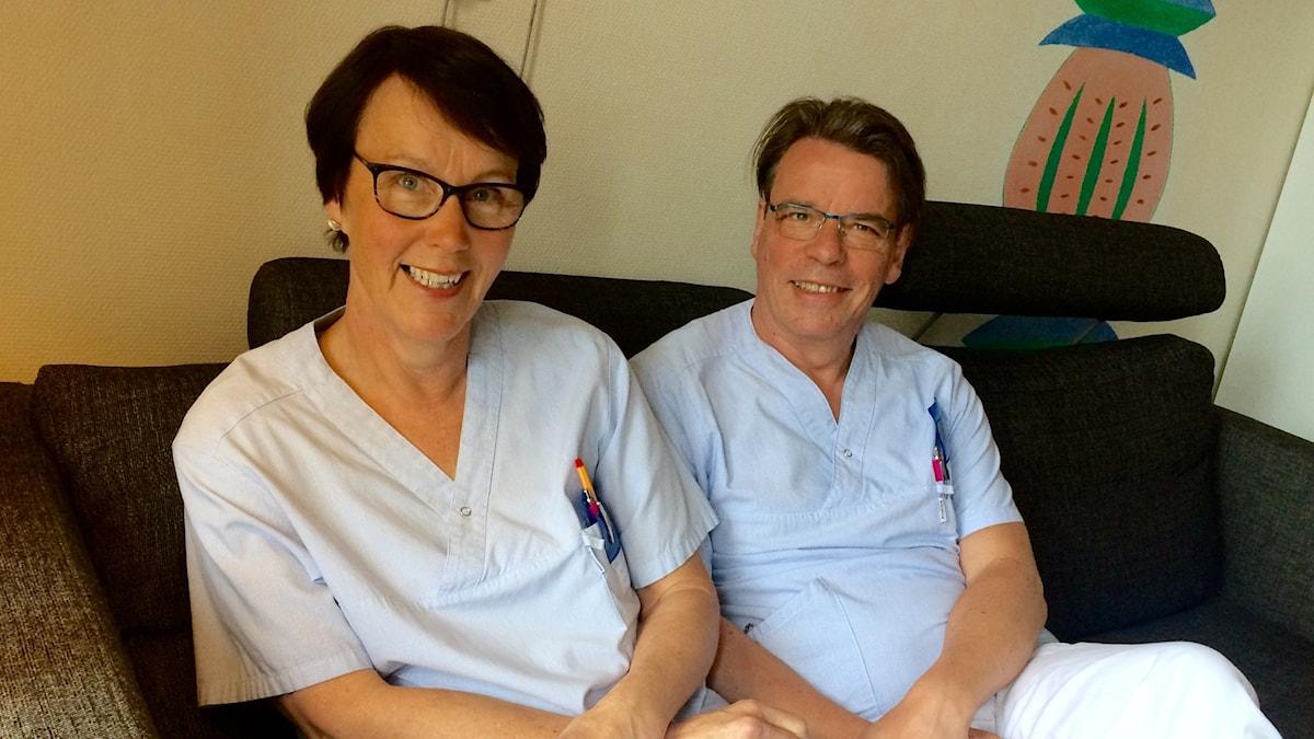 Tiina ja Jouko Pirhonen kouluttavat Gävlen sairaalan henkilökuntaa huhti-toukokuussa 2016.
