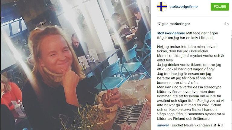 En instagrambild på en blond tjej