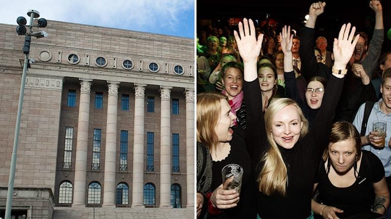 Riksdagshuset i Helsinfors och glada kvinnor på de grönas valvaka, bildsplitt