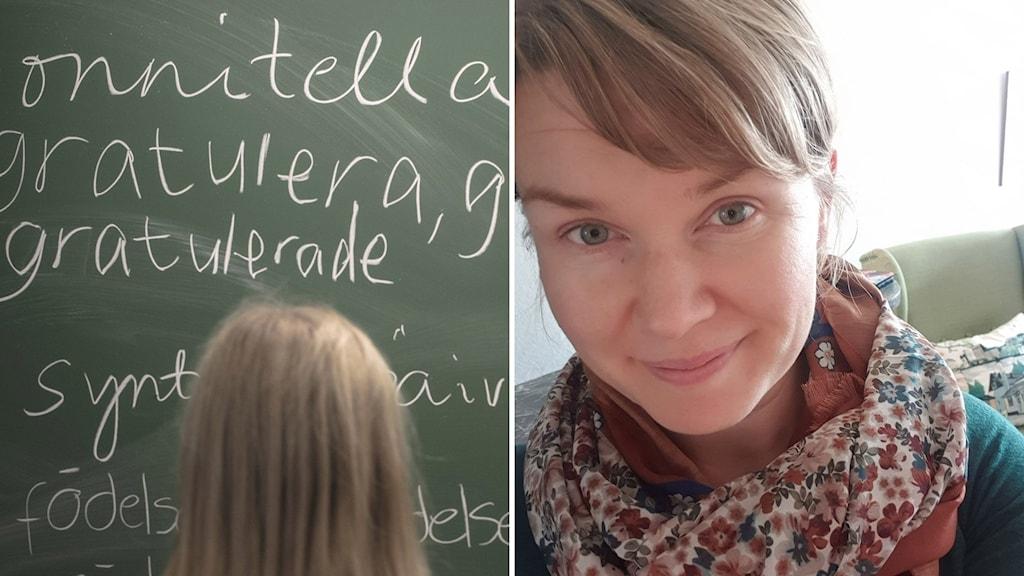Liitutaulu, johon oppilas kirjoittaa suomeksi ja ruotsiksi. Kaisa Valakari selfie.