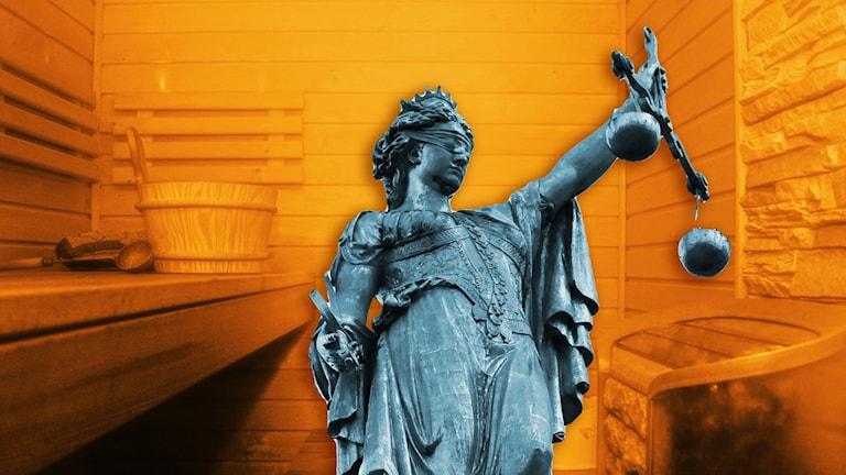 Ett fotomontage med rättvisans symbol Justitia inne i en bastu.