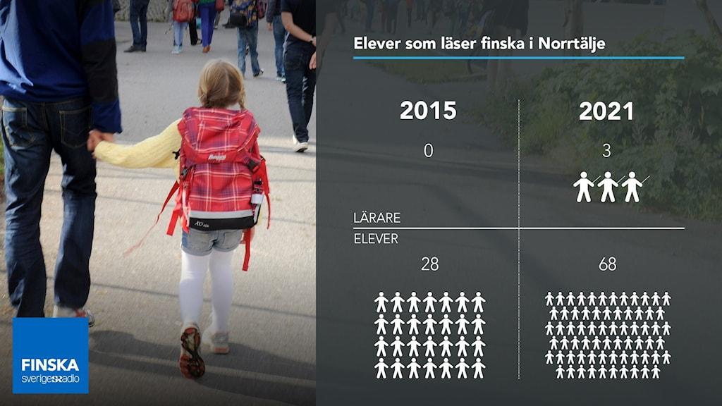 Diagram som visar att Norrtälje hade år 2015 0 lärare och 28 elever i finska och år 2021 har kommunen 3 lärare i finska och 68 elever. Bredvid en bild med elev med ryggsäck som går på skolgård hand i hand med sin pappa.