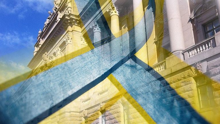 Valtiopäivätalo ja ruotsinsuomalaisten lippu