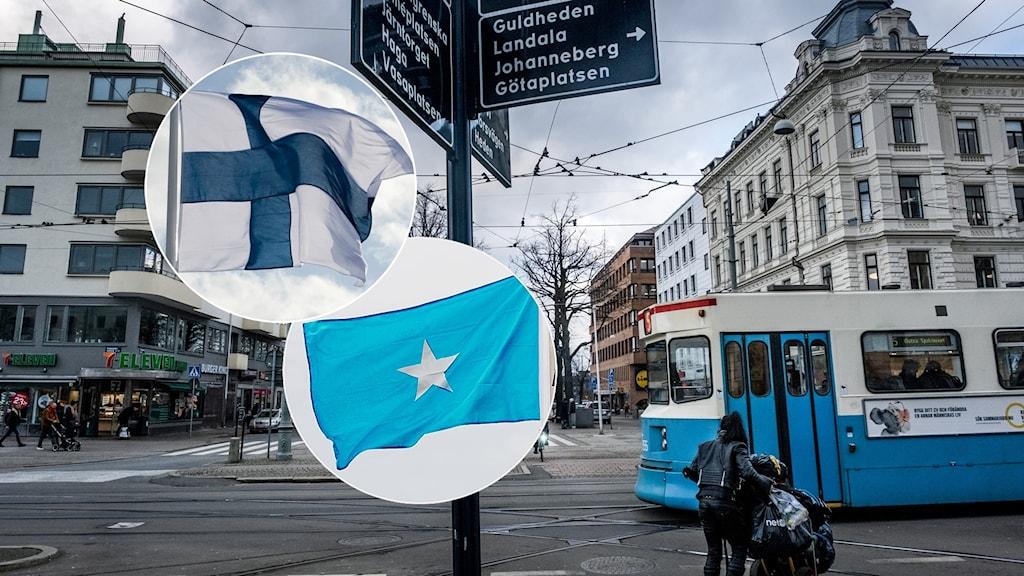 Kuva Göteborgin kaupungin ytimestä, jonka päällä on Suomen ja Somalian liput.