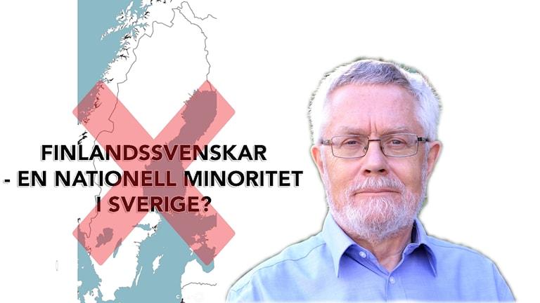 Lennart Rohdin, och en stor röd kryss över texten FINLANDSSVENSKAR - EN NATIONELL MINORITET I SVERIGE?