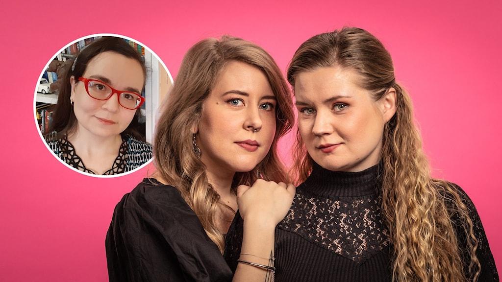 Sanna Laakso har handen på Natalie Minneviks axel. Båda ser allvarligt in i kameran. Infällt, liten bild på Ainur Elmgren.