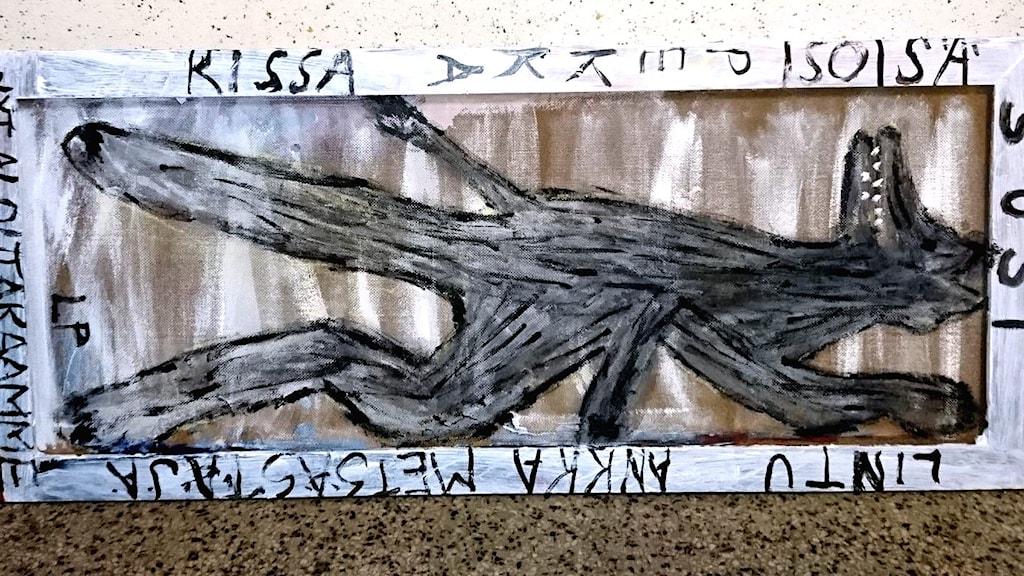 en målning med en varg