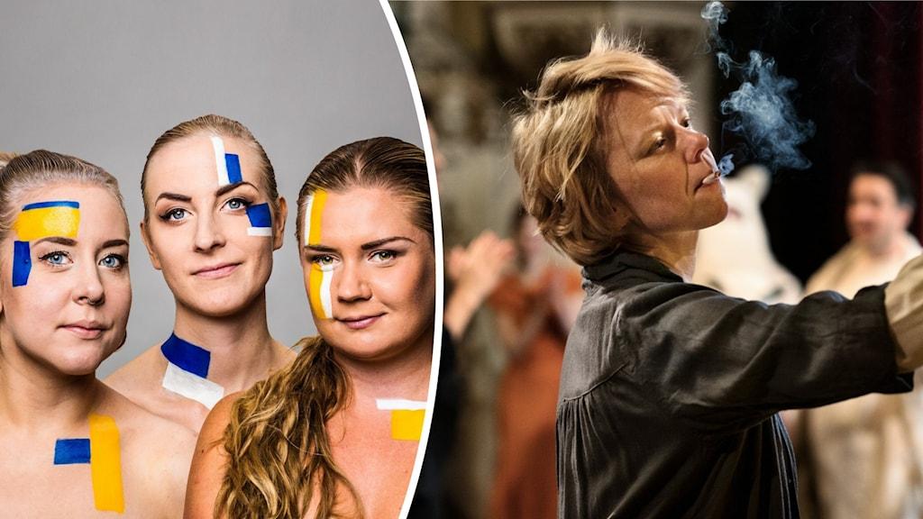 Populas tre programledare från vänster Sanna Laakso, Meimi Taipale och Natalie Minnevik sminkade i sverigefinska färger. Till höger står skådespelaren Alam Pöysti i rollen som Tove Jansson.