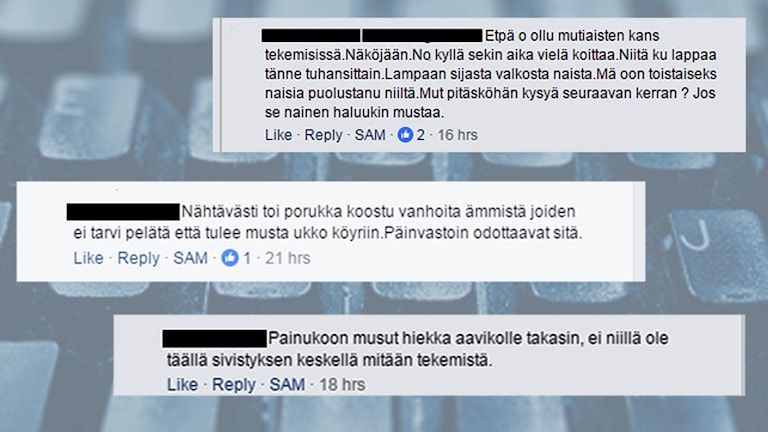 Skärmdump på rasistiska och hatiska kommentarer från en sverigefinsk Facebook grupp