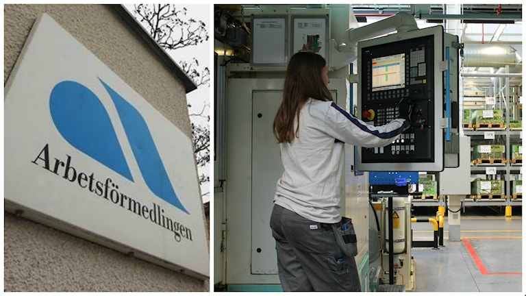 Vasemmassa kuvassa näkyy Työvoimaviraston, eli Arbetsförmedlingenin logotyyppi rakennuksen seinällä. Oikealla puolella kuvassa on nuori nainen, joka on töissä Scanian tehtaalla.