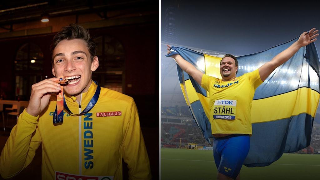 Jaettu kuva, Armand Duplantis mitali hampaiden välissä vasemmalla ja Daniel Ståhl Ruotsin lippu liehumassa harteillaan oikealla.