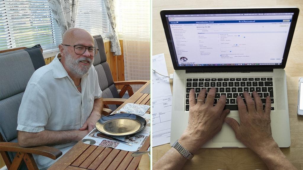 Kaksi kuvaa vierekkäin.Vasemmalla kuva miehestä joka istuu pöydän äärressä.Miehen kädet tietokoneen ääressä kuvattu ylhäältä päin. Vieressä näkyy paperilaskuja ja älypuhelin.