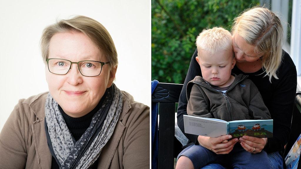 Mamma läser sagor för sin 4-åriga son.