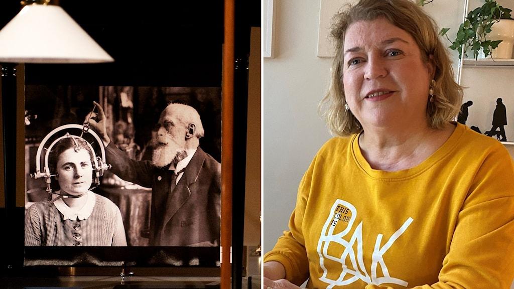 Kuvassa vasemmalla historiallinen valkova kallonmittauksista ja oikealla nainen keltaisessa paidassa joka katsoo kameraan.