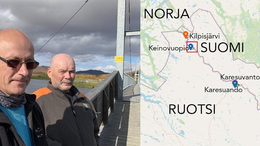 Keinovuopion sijainti kartalla & kaksi miestä Ruotsin ja Suomen välisellä kapealla rajasillalla