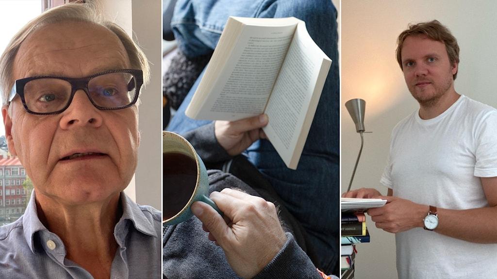 Kuvassa kaksi miestä jotka katsoo kameraan ja heidän välissä kuvituskuva henkilöstä joka lukee kirjaa nojatuolissa.