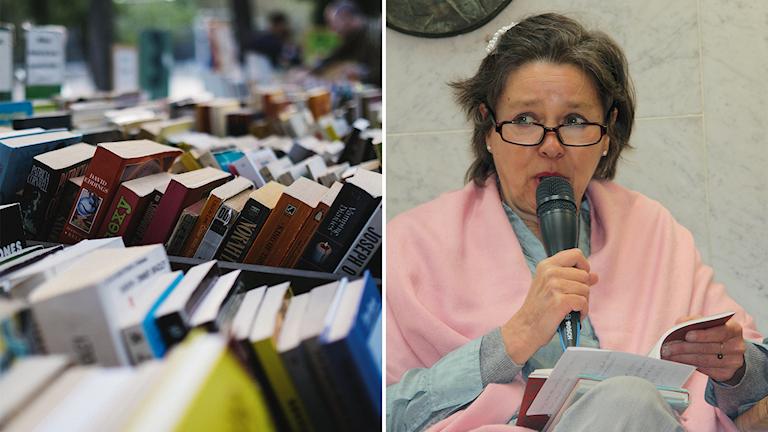 Kaksi kuvaa. Vasemmalla kasa kirjoja nojaa toisiinsa ja oikealla kuvassa istuu Susanne Ringell, puhumassa mikrofoniin ja lukemassa kirjaa.