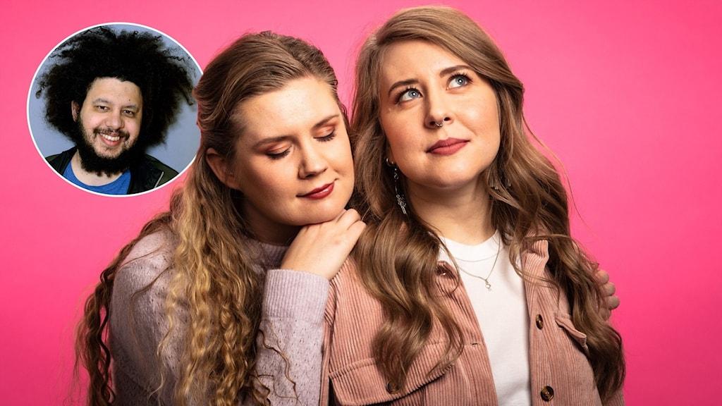 Populas programledare Natalie Minnevik som blundar och lutar sig på Sannas axel och Sanna Laakso som ser drömmande ut.  I vänstra hörnet syns Joy Deb.