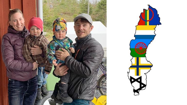 Bildsplitt: Mamma, pappa och två små barn. På andra bilden Sveriges karta ifylld med de nationella minoriteternas flaggor och symboler.