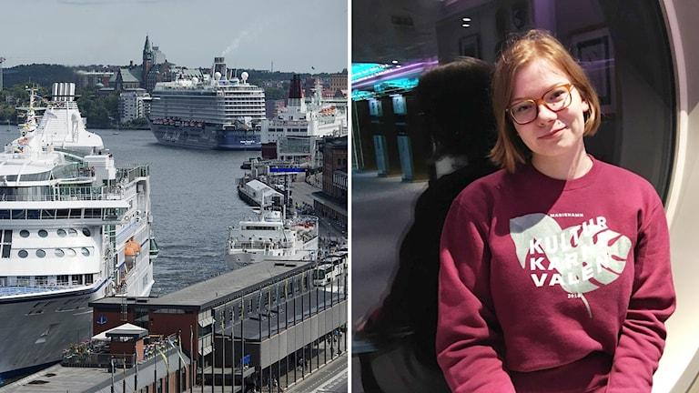 Vasemalla kuva Tukholman satamasta, jossa näkyy kolme suurta risteilylaivaa. Foto: Izabell Nordfjell/TT, Jasmine Malla/Sisuradio.