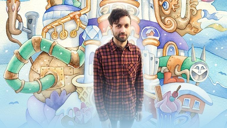 Alex Haridi med bild från fantasivärlden i julkalendern i bakgrunden