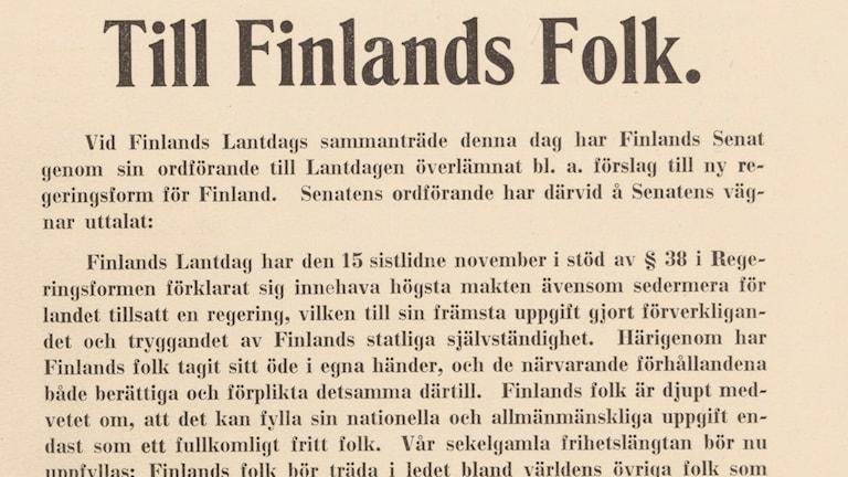 Finlands självständighetsförklaring.