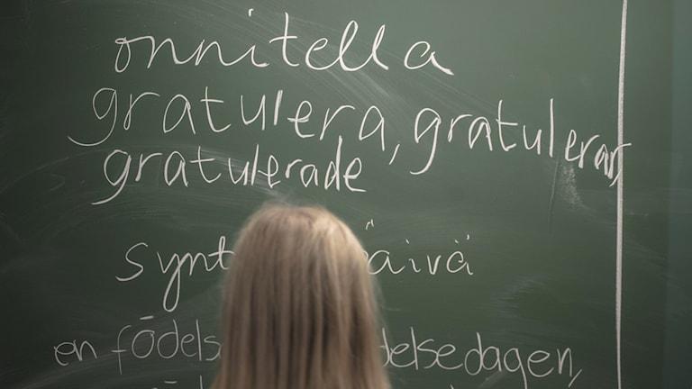 liitutaululla sanoja suomeksi ja ruotsiksi, edessä tyttö katsoo taulua