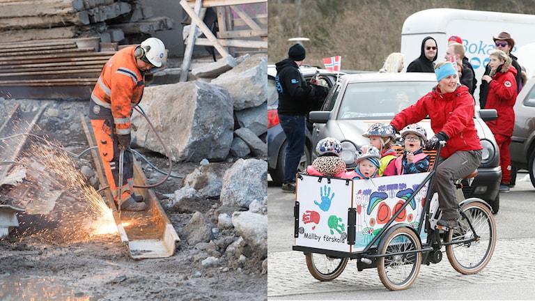 En byggarbetare och en förskolelärare