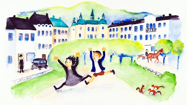 Eli och Luli springer genom sin lilla stad. Bild: Rebecka Lagercrantz