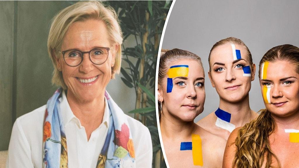 Programledarna Sanna Laakso, Meimi Taipale och Natalie Minnevik tillsammans med terapeuten Satu Hirsch Fjellstedt.