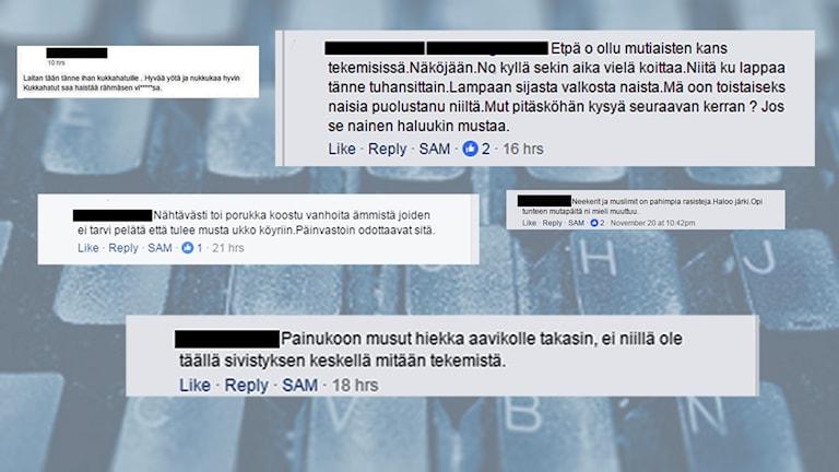 Skärmklipp med rasistiska kommentarer om en facebookgrupp