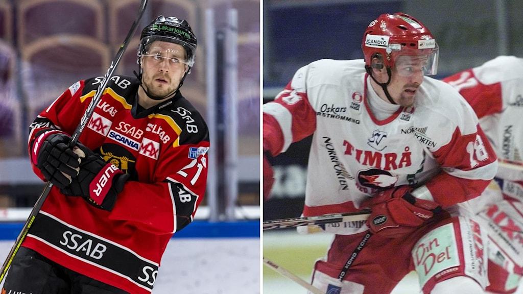 kaksi kuvaa: Jääkiekkopelaaja puna-mustassa asussa ja jääkiekkopelaaja puna-valkoisessa asussa.