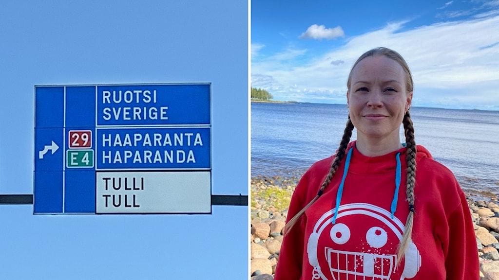 Tiekyltti, jossa lukee Haaparanta ja toisessa kuvassa nainen, joka on pukeutunut punaiseen huppariin ja jolla on hiukset letillä.