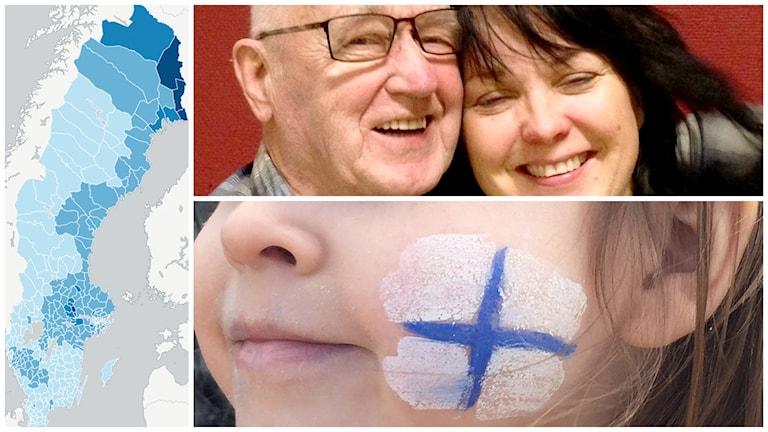 En kollage med tre bilder: en Sverigekarta med blåa nyanser, en bild med en glad pensionär som kramar en skrattande kvinna och en bild på ett barn med finsk flagga på kinden