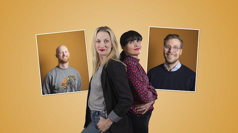 Vår flerspråkiga vardag: Programledarna Hanna Sihlman och Hanna Paimela Lindberg och gästerna David Johnn och Johan Helttunen.