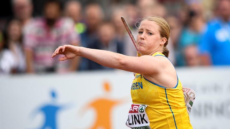Keihäänheittäjä Sofi Flink osallistuu Suomi-Ruotsi maaotteluun Tukholman Stadionilla.