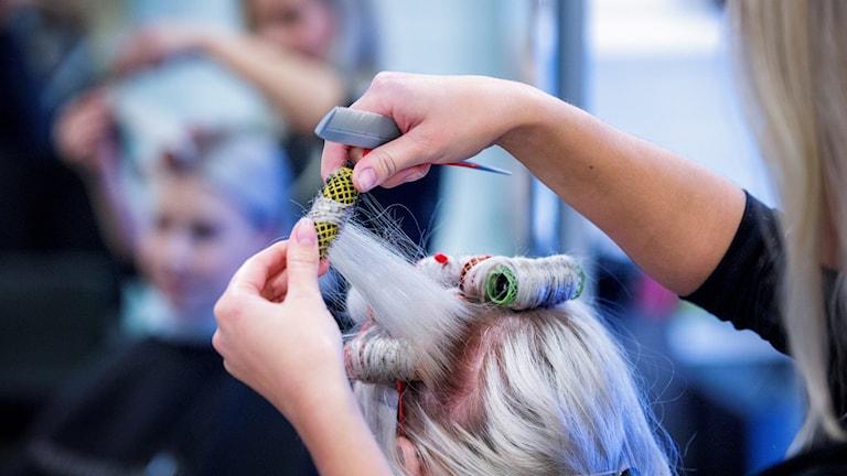 Kampaaja laittaa papiljottia naisen hiuksiin.