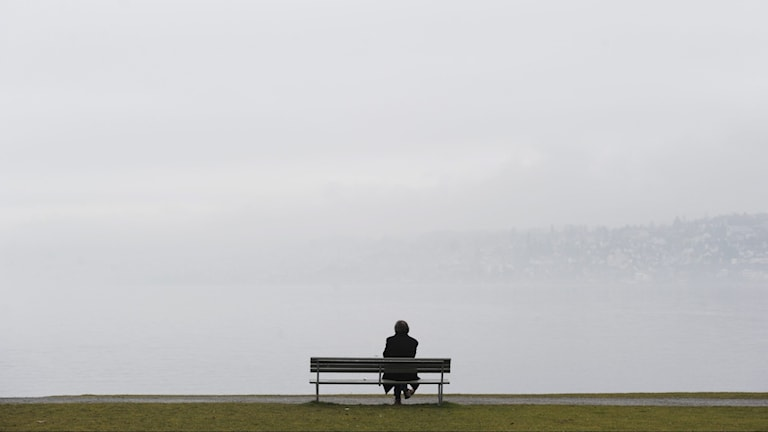A man sits on a bench overlooking mist
