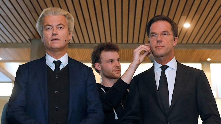 Hollannnin pääministeri Mark Rutte ja vapauspuolueen johtaja Geert Wilders.