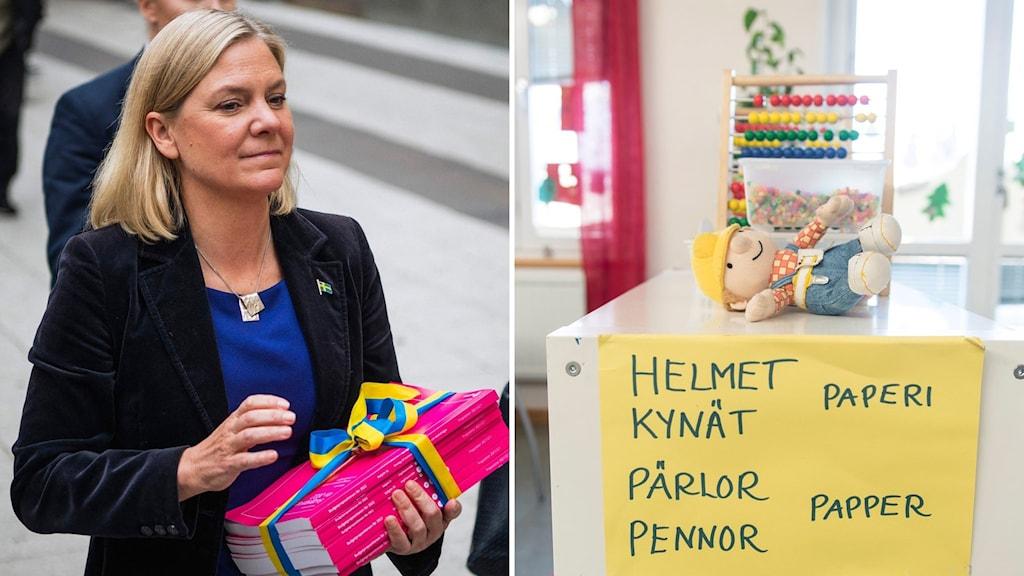 Ruotsinsuomalaisen koulun luokkahuone ja Magdalena Andersson.