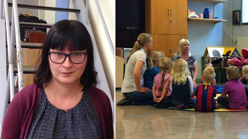 Kuvassa nainen joka katsoo kameraan ja esikoululuokka joka istuu ringissä kahden oppettajan kanssa.
