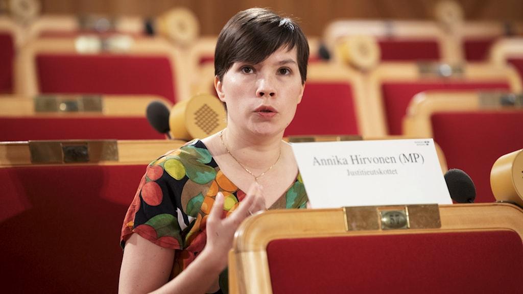 Ympäristöpuolueen valtiopäiväedustaja Annika Hirvonen Falk (MP)
