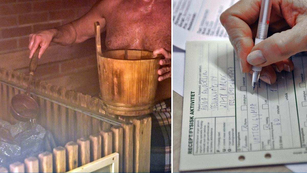 Kuvassa mies saunassa ja reseptilomake.