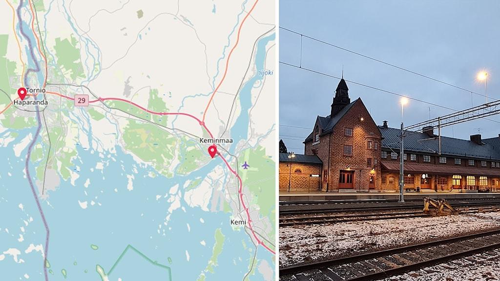 En karta där Haparanda och Laurila i finska Keminmaa står utmarkerat, samt en bild på Haparanda tågstation.