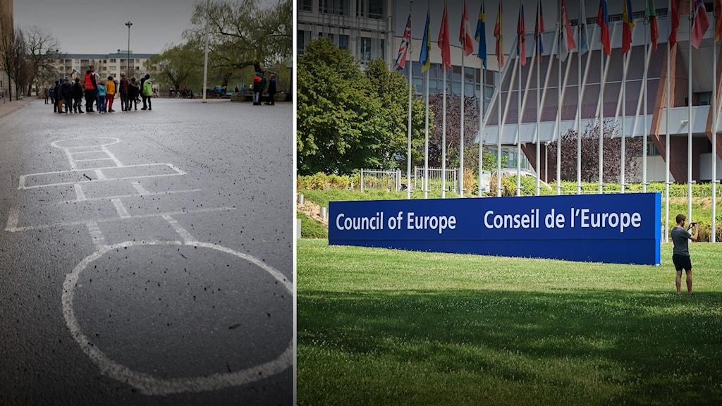 Delad bild med en skolgård på höger sida och exteriören på Europarådets huvudkontor till höger.