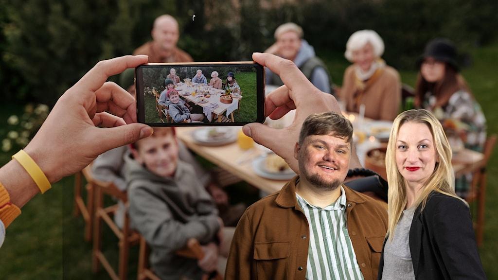 Programledaren Hanna och dialogredaktören Kalle står framför en familjeåterförening, en person håller i en telefon och på väg att ta ett foto på sällskapet.