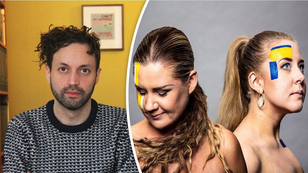 Till vänster en man med krulligt hår i grå tröja. Till höger Populas programledare Natalie Minnevik och Sanna Laakso, sminkade i sverigefinska färger.