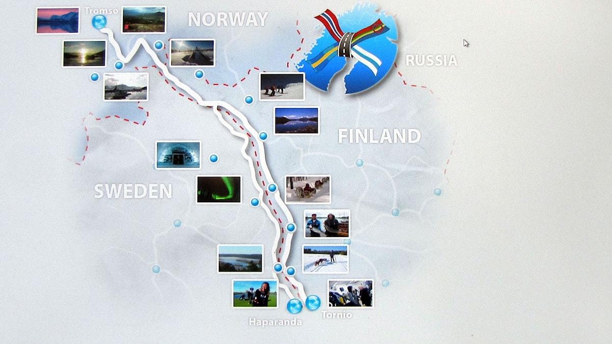 Revontultentie johtaa Haaparanta-Torniosta Tornionlaaksoa pitkin ylös rajaa aina Pohjois-Norjan Tromsaan asti.